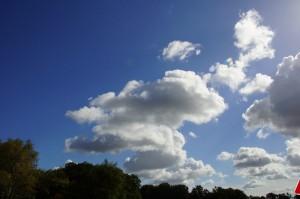 Rennender Wolken-Frosch am Himmel